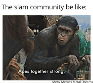 Keep it above the fifth fret: The slam community be like:  Apes together strong.  Metal Memes Metal Dreams Keep it above the fifth fret