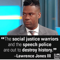 """On """"Fox & Friends,"""" Lawrence Jones III reacted to the College of the Holy Cross dropping all knight imagery.: The social justice warriors  and the speech police  are out to destroy history.  -Lawrence Jones ll  53  FOX  NEWS On """"Fox & Friends,"""" Lawrence Jones III reacted to the College of the Holy Cross dropping all knight imagery."""