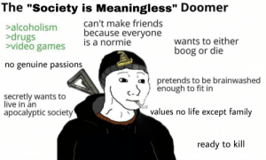 """Someone posted this on r/teenagers unironically: The """"Society is Meaningless"""" Doomer  can't make friends  because everyone  is a normie  >alcoholism  >drugs  >video games  wants to either  boog or die  no genuine passions  pretends to be brainwashed  enough to fit in  secretly wants to  live in án  values no life except family  apocalyptic society  ready to kill Someone posted this on r/teenagers unironically"""