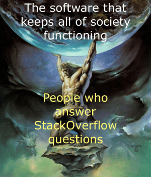 Without these guys we'd all be screwed: The software that  keeps all of society  functioning  LYDISCOSTU42  People who  answer  StackOverflow  questions  RORIS Without these guys we'd all be screwed