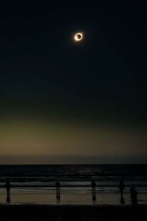 Beach, Eclipse, and Chile: The solar eclipse seen over the beach in La Serena, Chile. July 2 2019.