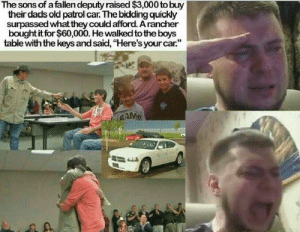 "wholesome: The sons of a fallen deputy raised $3,000 to buy  their dads old patrol car. The bidding quickly  surpassed what they could afford. Arancher  bought it for $60,000. He walked to the boys  table with the keys and said, ""Here's your car.""  AAMS wholesome"