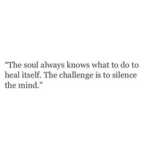 "Mind, Silence, and Soul: ""The soul always knows what to do to  heal itself. The challenge is to silence  the mind."""