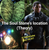 Easter, Lol, and Memes: The Soul Stone's location  (Theory)  IGl TheDailyFanboy  July 13th2017 So it's no secret that in the MCU, Infinity Gems play a major role. With Avengers Infinity War approaching, 1 last gem (the Soul stone) has yet to show up. All eyes are on Ragnarok and most believe that Heimdall will be the one in possession of it (he has a tiny orange gem in his chest and can see the souls of all living creatures) however I think that the Soul Gem will actually appear in Black Panther. Just think about it for a second: T'challa gets his powers from a heart shaped Herb (starts with an H like Heimdall allowing for the Thanos easter egg to remain a thing), he has the ability to access the power and knowledge of all previous Black Panthers (maybe because their SOULS are inside the gem similar to the comics), and it makes no sense for the last Gem to be in Ragnarok because Thor said they shouldn't be too close together and this was right before he knowingly brought the Tesseract to Asgard. Ugh it kills me that no one else has seen this but on the bright side if it ends up being true than I'm taking FULL credit for guessing it lol. P.S. the Herb can be Orange in the movie since the eye of agamotto took Green marvel mcu marvelcomics comics blackpanther herb infinitygems infinitygem infinitystone infinitygauntlet soulgem 2018 tchalla chadwickboseman michaelbjordan entertainmentweekly kevinfeige july summer nerdy comicbooks erikkillmonger wakanda