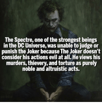Ghost Rider , Joker, and Memes: The Spectre, one of the strongest beings  in the DC Universe, was unable to judge or  punish the Joker because The Joker doesn't  consider his actions evil at all. He views his  murders, thievery, and torture as purely  noble and altruistic acts. Would Ghost Rider's Penance Stare work then? 🤔 | Follow @marvelousfacts