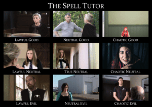 The Spell Tutor | Memes: THE SPELL TUTOR  LAWFUL GOOD  NEUTRAL GOOD  CHAOTIC GOOD  LAWFUL NEUTRAL  TRUE NEUTRAL  CHAOTIC NEUTRAL  NEUTRAL EVIL  LAWFUL EVIL  CHAOTIC EVIL The Spell Tutor | Memes