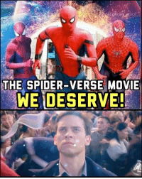 Memes, Sony, and Spider: THE SPIDER-VERSE MOVIE  WE DES I'm in love with this Spider-verse trailer by Alex Luthor on Youtube! Maaan I hope this is a real movie one day. Garfield, Maguire and Holland trading quips (and punches) as the webhead would be legendary. -- My fan dream? After the third Holland film we get *this* movie as the Avengers-esque climax... with a post-credit scene of Miles Morales. 🎤 Drop. Take all the money, Sony-Marvel! 🙌🏾💸 spiderman spiderverse marvel sony avengers