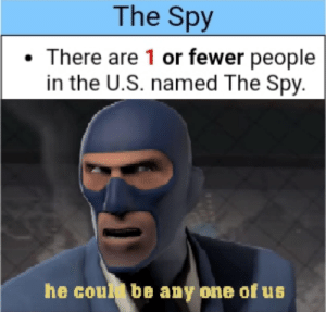 he lives: The Spy  There are 1 or fewer people  in the U.S. named The Spy.  he coul be any one of us he lives