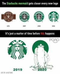 Starbucks: The Starbucks mermaid gets closer every new logo  ARBUCK  BU  OFFE  OFF  .TEA  TM  1971  1987  1992  2011  It's just a matter of time before this happens  2019  ART BY:@JEFFWNI