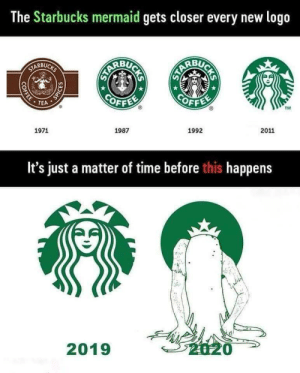 Funny, Starbucks, and Time: The Starbucks mermaid gets closer every new logo  ARBUG  BU  RBU  OFFE  OFF  . TEA  TM  1971  1987  1992  2011  It's just a matter of time before this happens  2019 New logos They change so much. via /r/funny https://ift.tt/2QlE6K1