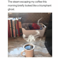 triumphant: The steam escaping my coffee this  morning briefly looked like a triumphant  ghost.
