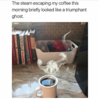 MAY THE FOURTH BE WITH YOU ~Erin: The steam escaping my coffee this  morning briefly looked like a triumphant  ghost MAY THE FOURTH BE WITH YOU ~Erin