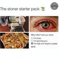 The stoner starter pack  Why I didn't text you back  O I'm busy.  O I'm ignoring you.  O I'm high and forgot to press  send. RT @GreenPIanet: Stoner pack https://t.co/lYHqvvIEfB
