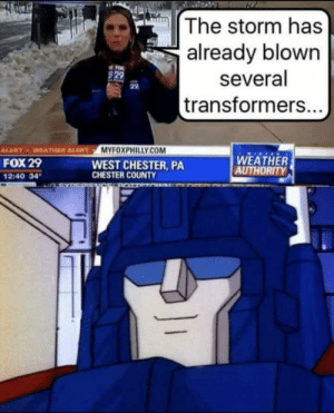 Funny, Transformers, and Weather: The storm has  already blown  several  transformers..  829  29  MYFOXPHILLY.COM  ALERTWEATHER ALERT  FOX 29  2:40 34  WEST CHESTER, PA  CHESTER COUNTY  WEATHER  AUTHORITY Giggity via /r/funny https://ift.tt/2xfF26L