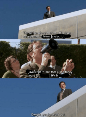 Ignorant, Office, and Word: The Stress Of my modern office has  caused me to learn JavaScript  lavaScript Isn't that just a fanc  word for  lava  Dwight vou ignorant slut Dwight, you ignorant slut