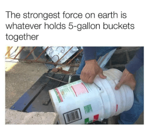 Truth: The strongest force on earth is  whatever holds 5-gallon buckets  together Truth