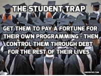 College, Memes, and Trap: THE STUDENT TRAP  GET THEM TO PAY A FORTUNE FOR  THEIR OWN PROGRAMMING THEN  CONTROL THEMTHROUGH DEBT  FOR THE REST OF THEIR LIVES  DAVIDICKE.COM Nearly Half of College Kids Go Hungry—Even With Jobs and Financial Aid: http://bit.ly/2ee5eJE #students #Davidicke