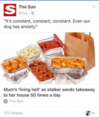 """Stalking, Anxiety, and House: The Sun  8 hrs B  """"It's constant, constant, constant. Even our  dog has anxiety.""""  Mum's 'living hell' as stalker sends takeaway  to her house 50 times a day  The Sun  273 shares Please stalk me"""
