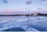 "The sun shines over the Potomac River, which is still icy from the ""bomb cyclone"" winter storm that tore through much of the East Coast.: The sun shines over the Potomac River, which is still icy from the ""bomb cyclone"" winter storm that tore through much of the East Coast."