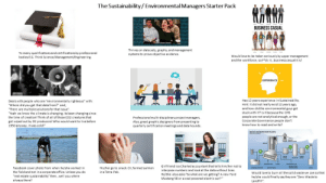 """Bodies , Facebook, and Love: The Sustainability/Environmental Managers Starter Pack  BUSINESS CASUAL  Thrives on data sets, graphs, and management  To many qualifications and certifications by professional  Think Science/Management/Engineering.  systems to prove objective evidence.  Would love to be taken seriously by upper management  and the workforce, so F*ck it...business casual it is!  bodies  EXPERIENCE  Has 12 years experience in Sustainability  Hint: it did not really exist 12 years ago,  and how did the environmental guys get  Deals with people who are """"environmentally righteous"""" with:  """"Where did you get that data from?"""" and;  """"There are multiple solutions for that issue"""".  """"Yeah we know the climate is changing, its been changing since  stuck with it? Is it because the OHS  of creation! Think of all of those Co2 cr  people are not analyticalenough, or the  Corporate Governance people don't  know how to read and write?  res that  -disciplinary project managers.  Also, great graphic designers from presenting to  quarterly certification meetings and data hounds.  onal  got wiped out by O2 producers! Who would want to live before  1950 anyway, it was cold!""""  Girlfriend isa Charted accountant that tells him/her not to  2UST GAS  His/her go to snack. Or, farmed salmon  in a Tetra Pak.  Facebook cover photo from when he/she worked in  the field and not in a corporate office. Unless you do  """"real estate sustainability"""" then...well you where  always there?  interpose numbers and look at the data without bias.  He/She also asks """"So what are we getting? A new Ford  Mustang V8 or a coal powered electric car?""""  Would love to burn all the solid waste we can so that  he/she could finally say they are """"Zero Waste to  Landfill"""" Environmental and Sustainability Professionals Starter Pack"""