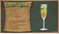 Garnishment: THE  Sviberin House  Ingredients:  4 mint leaves  1 ounce rum  2 slices of lime  y3 teaspoons sugar  9 3 ounces champagne  Directions:  1. Muddle mint leaves, limes, rum  and sugar in a shaker until the  sugar dissolves  2. Strain into champagne flute.  s. Add champagne.  4. Garnish with mint.  Mashable