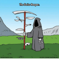 Tumblr, Blog, and Http: The Swiss Reaper.  SPUDCOMICS.COM  O 201y LONNIE EASTERLINS srsfunny:  Convenient Scythe