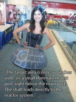 """Why, thats no bigger than a womp rat.: """"The target area is only two inches  wide, its a small thermal exhaust  port, right below the main port  The shaft leads directly to the  reactor system."""" Why, thats no bigger than a womp rat."""