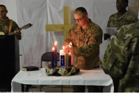Memes, Afghanistan, and 🤖: The Task Force Marauder Unit Ministry Team conducted a candlelight service for service members deployed to Afghanistan on ChristmasEve.