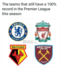 Lol @westham: The teams that still have a 100%  record in the Premier League  this season  ELS  0  YOU'LL NEVER WALK ALONE  LIVERPOOL  FOOTBALL CLUB  BALL  EST-189  TrollFootball  @TheTrollFootbal insta  WATFORD  WEST HAM  UNITED  LONDON Lol @westham