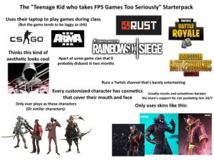 "Shit, Starter Packs, and The Game: The ""Teenage Kid who takes FPS Games Too Seriously"" Starterpack  Uses their laptop to play games during class  (But the game tends to be laggy as shit)  FORTNITE  BRUST  BATTLE  ROYALE  ARMA  RAINEDNSIN SIEGE  CS GO  TOM CLANCY'S  Thinks this kind of  PLAYERUNKNOWN'S  Apart of some game clan that'll  probably disband in two months  aesthetic looks cool  ATLEGHOUNS  MOBILE  Runs a Twitch channel that's barely entertaining  Every customized character has cosmetics  Usually mocks and sometimes berates  the team's support for not pocketing him 24/7  that cover their mouth and face  Only ever plays as these characters  (Or similar characters):  Only uses skins like this:  FORTMITE  FORTNITE The ""Teenage Kid who takes FPS Games Too Seriously"" Starterpack"