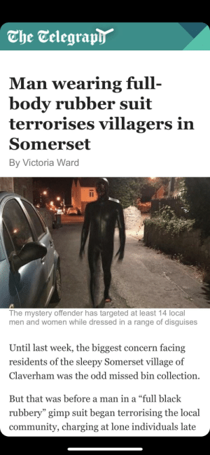 """Community, Definitely, and Gimp: The Telegraph  Man wearing full-  body rubber suit  terrorises villagers in  Somerset  By Victoria Ward  The mystery offender has targeted at least 14 local  men and women while dressed in a range of disguises  Until last week, the biggest concern facing  residents of the sleepy Somerset village of  Claverham was the odd missed bin collection  But that was before a man in a """"full black  rubbery"""" gimp suit began terrorising the local  community, charging at lone individuals late This is most definitely an enderman"""
