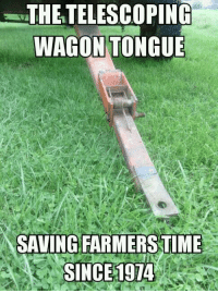 The TELESCOPING WAGON TONGUE SAVING FARMERS TIME SINCE 1974