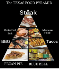 Food, Blue, and Chicken: The TEXAS FOOD PYRAMID  Steak  Chicken Fried  Mexican  Food  Steak  BBQ  Tacos  BLUE R  ICE CREA  BLUE KSE CREAM  PECAN PIE BLUE BELL The main food groups of the average Texan.