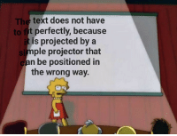 But please Try to fit the text: The text does not have  to fit perfectly, because  is projected by a  ple projector that  Si  can be positioned in  the wrong way. But please Try to fit the text