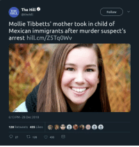 LIBS WTF!!! The mother of Mollie Tibbetts, a 20-year-old Iowa college student who was allegedly murdered earlier this year by an immigrant residing the U.S. illegally, adopted the child of Mexican immigrants who fled town after the man accused of killing her daughter was arrested.: THE The Hill  Follow  HLL@thehill  Mollie Tibbetts' mother took in child of  Mexican immigrants after murder suspect's  arrest hill.cm/Z5Tq0Wv  6:13 PM - 28 Dec 2018  ai@○()  128 Retweets 435 Likes  027 t 128 435 LIBS WTF!!! The mother of Mollie Tibbetts, a 20-year-old Iowa college student who was allegedly murdered earlier this year by an immigrant residing the U.S. illegally, adopted the child of Mexican immigrants who fled town after the man accused of killing her daughter was arrested.