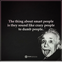 The thing about smart people...: The thing about smart people  is they sound like crazy people  to dumb people.  o HIGHER  PERSPECTIVE The thing about smart people...