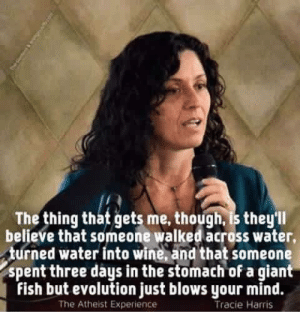 Tracie: The thing that gets me, though, is they'll  believe that someone walked across water,  turned water into wine, and that someone  spent three days in the stomach of a giant  fish but evolution just blows your mind.  The Atheist Experience  Tracie Harris