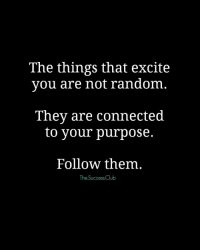 Tag someone 🎇 thesuccessclub: The things that excite  you are not random  They are connected  to your purpose.  Follow them  The Success Club Tag someone 🎇 thesuccessclub