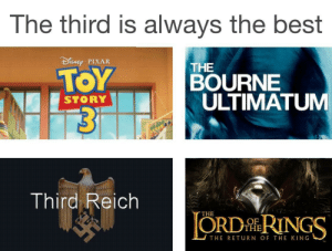 third reich: The third is always the best  DEp PIXAR  THE  BOURNE  ULTIMATUM  STORY  Third Reich  THE  ORDİhRINGS  OF  THE  THE RETuRN OF THE KING
