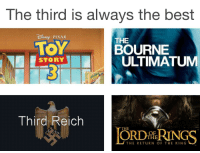 Memes, Pixar, and Best: The third is always the best  PIXAR  THE  TOY  BOURNE  ULTIMATUM  STORY  Third Reich  THE  OF  THE  THE RETURN OF THE KING