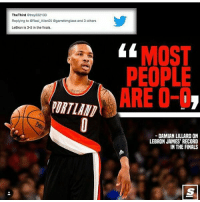 Dame has a point👀 @thescore: The Third  Strey332133  Replying to eReal Allen05 Ggarrettmglass and 3 others  LeBron is 3-5 in the finals.  MOST  PEOPLE  ARE O-I  DAMIAN LILLARD ON  LEBRON JAMES' RECORD  IN THE FINALS Dame has a point👀 @thescore