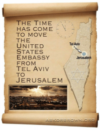 Memes, The Unit, and 🤖: THE TIME  HAS COME  TO MOVE  THE  UNITED  STATES  EMBASSY  FROM  TEL AVIV  TO  JERUSALEM  Tel Aviv  Jerusale