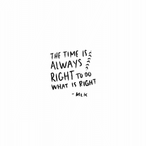mlk: THE TIME IS  ALWAYS Ạ  RIGHT To DO  WHAT S RIGHT  MLK