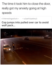 Funny, Anxiety, and Time: The time it took him to close the door  really got my anxiety going at high  speeds  r/interestingasfucku/participatoryl  Cop jumps into pulled over car to avoid  wolf pack... Dont give him a ticket for this 😂💀