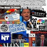 "Memes, News, and Fox News: The tiyoudontagreewithmypolitics,i  te  FOx News 24 hours aday""starterpack  Here are my sources:  DEMOCRATS  THE  POST  squawkkkk  Imore talking points)  suuawkkkk  THE  BC  VICE a  Buzz FeeD  BEING  Other98  NOWTHIS  N W  Audience: Yes Master Uygur, we  unquestionably belleve everything  you say.  ALO  Vox"