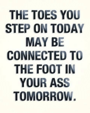 Foot In Your Ass: THE TOES YOU  STEP ON TODAY  MAY BE  CONNECTED TO  THE FOOT IN  YOUR ASS  TOMORROW.