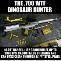 """Christmas Wish List for the gun owner who has everything. The specs far exceed the .700 Nitro Express, right up there with the .50 BMG, in a 16.25 in. barrel rifle. A shoulder surgeon's dream rifle. LOL Check out the video in the comments.  Merry Chistmas Gun Up, Train and Carry  Jon Britton aka DoubleTap: THE TOO WTF  DINOSAUR HUNTER  16.25"""" BARREL, 1132 GRAIN BULLET UP TO  2300 FPS, 13,000 FTILBS OF ENERGY AND  CAN PASS CLEAN THROUGH A 1/4"""" STEEL PLATE Christmas Wish List for the gun owner who has everything. The specs far exceed the .700 Nitro Express, right up there with the .50 BMG, in a 16.25 in. barrel rifle. A shoulder surgeon's dream rifle. LOL Check out the video in the comments.  Merry Chistmas Gun Up, Train and Carry  Jon Britton aka DoubleTap"""