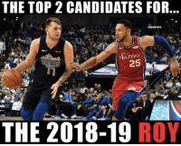 Basketball, Nba, and Sports: THE TOP 2 CANDIDATES FOR  KBAMEMES  25  THE 2018-19 ROY Both look very promising 😂