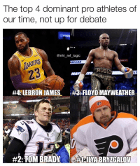 Don't even try to argue this one, you know it's 100% fact: The top 4 dominant pro athletes of  our time, not up for debate  @nhl_ref_logic  TAKERS  23  REGOR  #4fLEBRON JAMES、  :FLOYD MAYWEATHER  Ep  PA Don't even try to argue this one, you know it's 100% fact