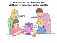 the top must have toy for christmas 2016. love from your friend Chris (Simpsons artist) xox: the top must have toy for christmas 2016:  childrens scrambled egg maker machine  they sure love  Save some  scrambled egg  egg for papa  scrambled  more egg  egg maker  wet egg the top must have toy for christmas 2016. love from your friend Chris (Simpsons artist) xox